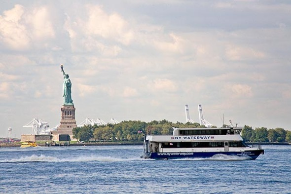 A New York Waterway ferry transports passengers on the Hudson Ri