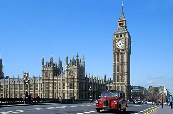 London Cab and Big Ben and Parliament