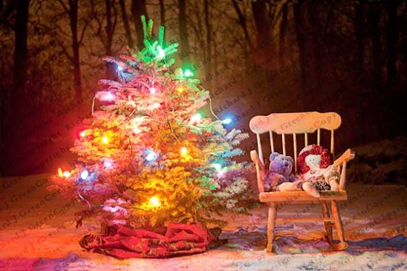 Christmas Tree, Rocking Chair, Presents, Snow, Winter