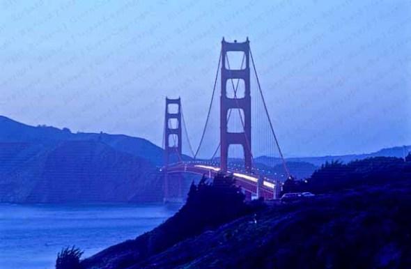 Golden Gate Bridge, Twilight, California,, San Francisco