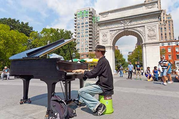 piano, music, musician, Washington square Park, Manhattan, NYC, New York City