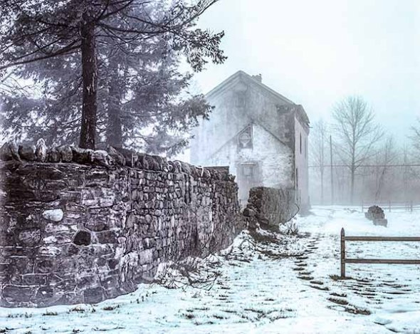 house, snow, fog, winter