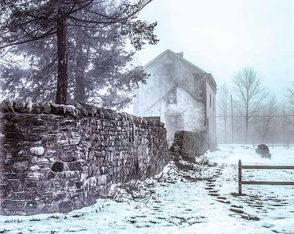 house, snow, fog, winter