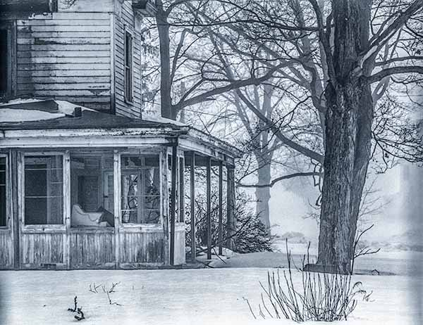 abandoned house, winter, snow