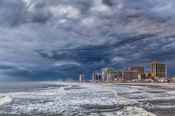 Atlantic City, Ocean, Beach, Storm Clouds, Ocean waves