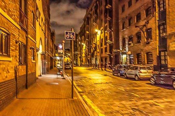 London, England, street, cobblestone road, night, nighttime