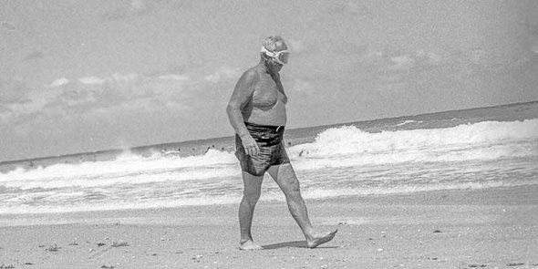 ocean, shore, elderly man, walking
