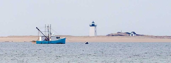 cape cod, lighthouse, fishing boat