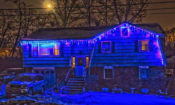 Christmas Lights, Snow, Full Moon, House