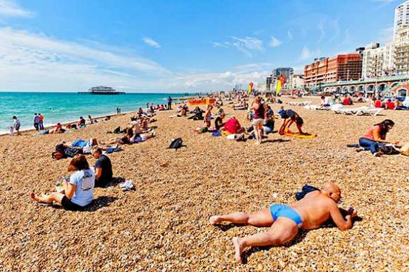 Brighton, England, Beach, Ocean, Swimming