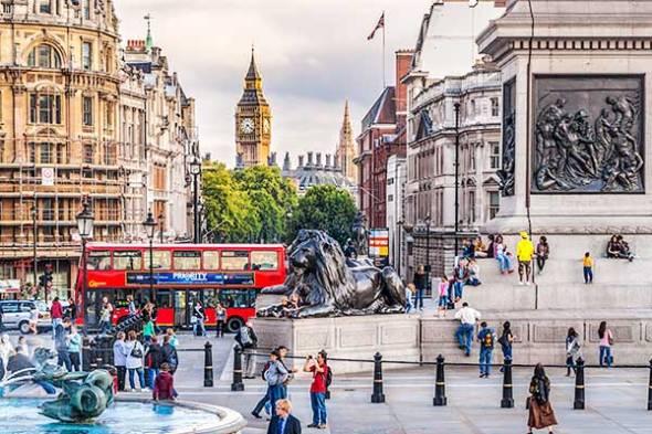 Big Ben, Trafalgar Square, London, England, Double Decker Bus