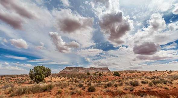 Page, AZ, Blue Sky, Clouds, Mountains, Desert