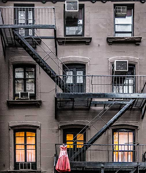 dress, apartment building, new york city, fire escape