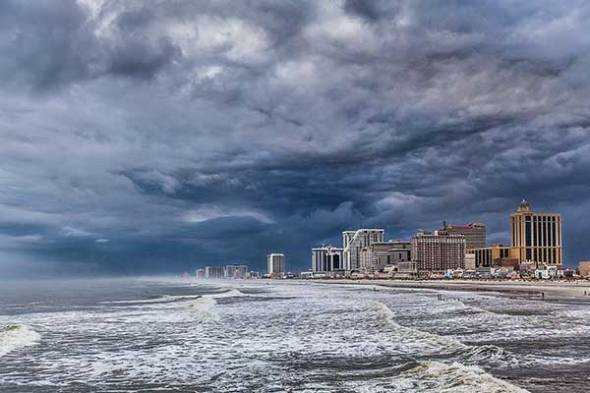 Atlantic city, Ocean, Storm, Rain