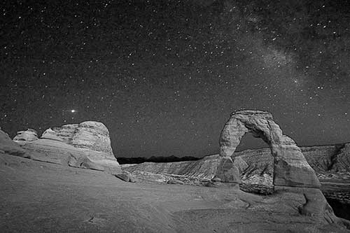 Delicate Arch, Arches National Park, Utah, Nighttime, Night, Stars, Universe