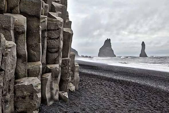 Iceland, Black Sand Beach, Reynisdrangar Cliffs