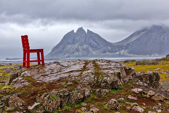 Iceland, Ring Road, Route 1, Chair, Mountains, Overcast, Clouds