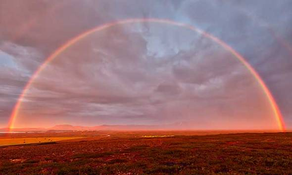 Iceland, rainbow, double rainbow, lake myvatn